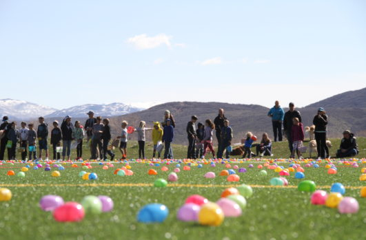 People standing in a farm with easter eggs